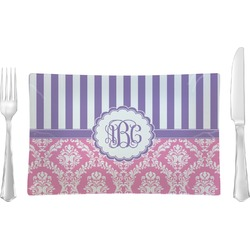 Pink & Purple Damask Glass Rectangular Lunch / Dinner Plate - Single or Set (Personalized)
