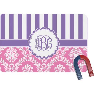 Pink & Purple Damask Rectangular Fridge Magnet (Personalized)