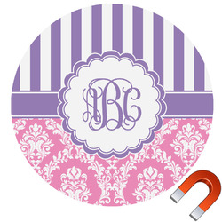 Pink & Purple Damask Round Car Magnet (Personalized)