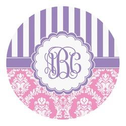 Pink & Purple Damask Round Decal - Medium (Personalized)