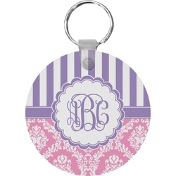 Pink & Purple Damask Round Keychain (Personalized)