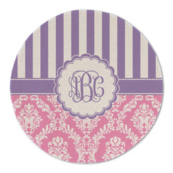 Pink & Purple Damask Round Linen Placemat (Personalized)
