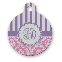 Pink & Purple Damask Round Pet Tag (Personalized)