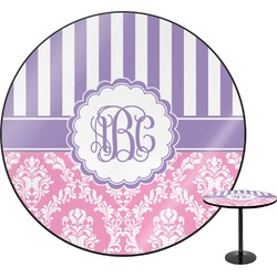 Pink & Purple Damask Round Table (Personalized)
