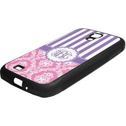 Pink & Purple Damask Rubber Samsung Galaxy 4 Phone Case (Personalized)