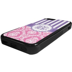 Pink & Purple Damask Rubber iPhone 5C Phone Case (Personalized)