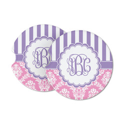 Pink & Purple Damask Sandstone Car Coasters (Personalized)