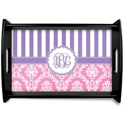 Pink & Purple Damask Black Wooden Tray (Personalized)