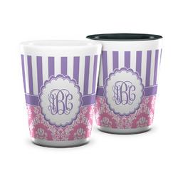 Pink & Purple Damask Ceramic Shot Glass - 1.5 oz (Personalized)
