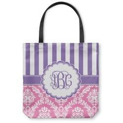 """Pink & Purple Damask Canvas Tote Bag - Large - 18""""x18"""" (Personalized)"""