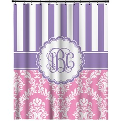 Pink Purple Damask Extra Long Shower Curtain