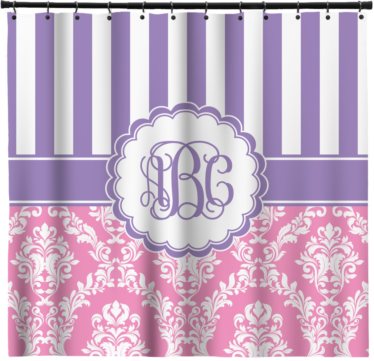 Pink And Purple Curtain Part - 20: Pink u0026 Purple Damask Shower Curtain (Personalized)