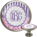 Pink & Purple Damask Cabinet Knob (Silver) (Personalized)
