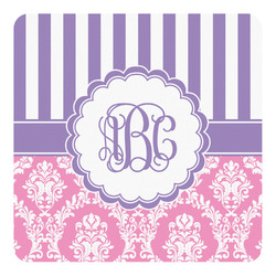 Pink & Purple Damask Square Decal - Medium (Personalized)