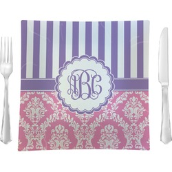 """Pink & Purple Damask 9.5"""" Glass Square Lunch / Dinner Plate- Single or Set of 4 (Personalized)"""