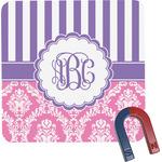 Pink & Purple Damask Square Fridge Magnet (Personalized)