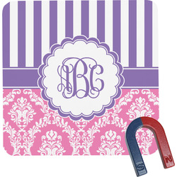 Pink & Purple Damask Square Fridge Magnet (Personalized)
