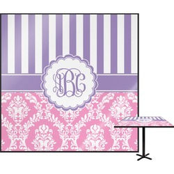 """Pink & Purple Damask Square Table Top - 24"""" (Personalized)"""