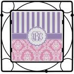 Pink & Purple Damask Square Trivet (Personalized)