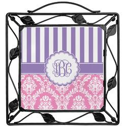 Pink & Purple Damask Trivet (Personalized)