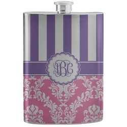 Pink & Purple Damask Stainless Steel Flask (Personalized)