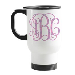 Pink & Purple Damask Stainless Steel Travel Mug with Handle