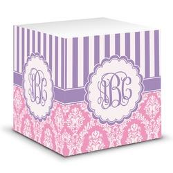 Pink & Purple Damask Sticky Note Cube (Personalized)
