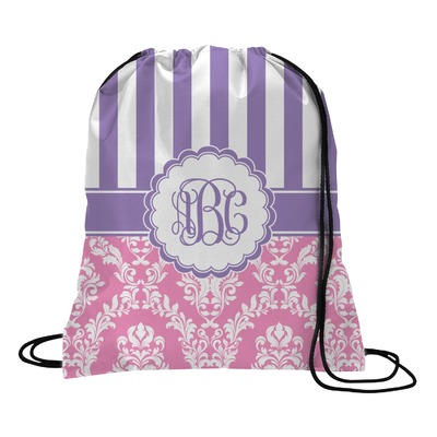 Pink & Purple Damask Drawstring Backpack (Personalized)