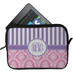 Pink & Purple Damask Tablet Case / Sleeve (Personalized)