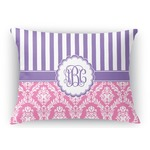 Pink & Purple Damask Rectangular Throw Pillow (Personalized)