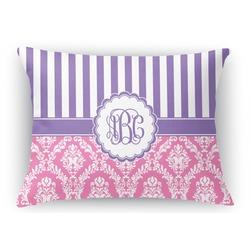 Pink & Purple Damask Rectangular Throw Pillow Case (Personalized)