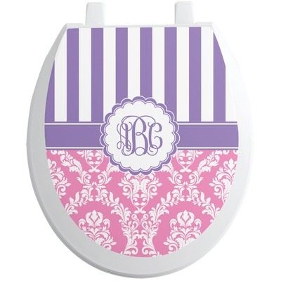 Pink & Purple Damask Toilet Seat Decal (Personalized)