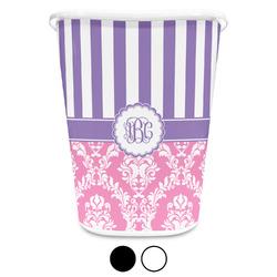 Pink & Purple Damask Waste Basket (Personalized)