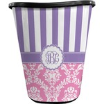 Pink & Purple Damask Waste Basket - Single Sided (Black) (Personalized)