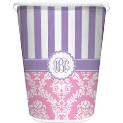 Pink & Purple Damask Waste Basket - Double Sided (White) (Personalized)