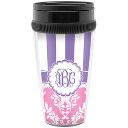 Pink & Purple Damask Travel Mug (Personalized)