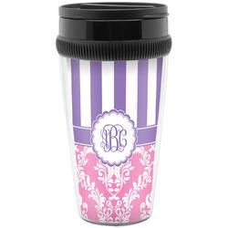 Pink & Purple Damask Travel Mugs (Personalized)