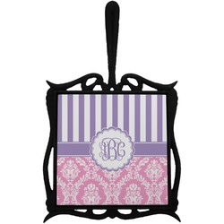 Pink & Purple Damask Trivet with Handle (Personalized)