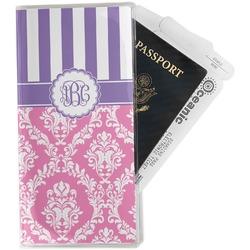 Pink & Purple Damask Travel Document Holder
