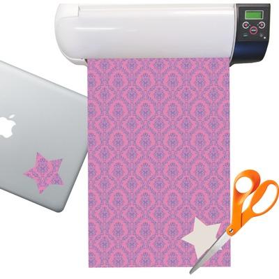 Pink & Purple Damask Sticker Vinyl Sheet (Permanent)