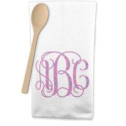 Pink & Purple Damask Waffle Weave Kitchen Towel (Personalized)