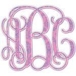 Pink & Purple Damask Monogram Decal - Custom Sized (Personalized)