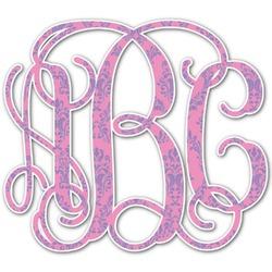 Pink & Purple Damask Monogram Decal - Custom Sizes (Personalized)