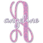 Pink & Purple Damask Name & Initial Decal - Custom Sized (Personalized)