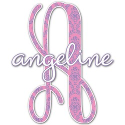 """Pink & Purple Damask Name & Initial Decal - Up to 12""""x12"""" (Personalized)"""