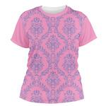 Pink & Purple Damask Women's Crew T-Shirt (Personalized)