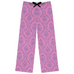 Pink & Purple Damask Womens Pajama Pants (Personalized)