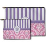 Pink & Purple Damask Zipper Pouch (Personalized)