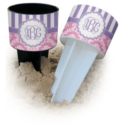 Pink & Purple Damask Beach Spiker Drink Holder (Personalized)
