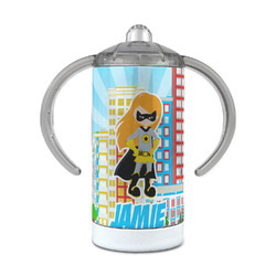 Superhero in the City 12 oz Stainless Steel Sippy Cup (Personalized)
